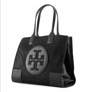 Aut Logo Tory Burch Ella Nylon Patent Tote Handbag